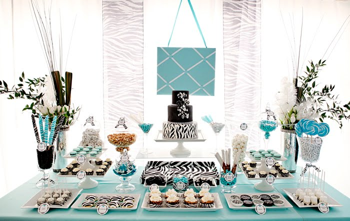 Tiffany blue zebra print dessert table thecouturecakery i was invited to do a dessert table for the knot tent at the i do in style bridal showcase the color theme was tiffany blue and white and a black and junglespirit Choice Image