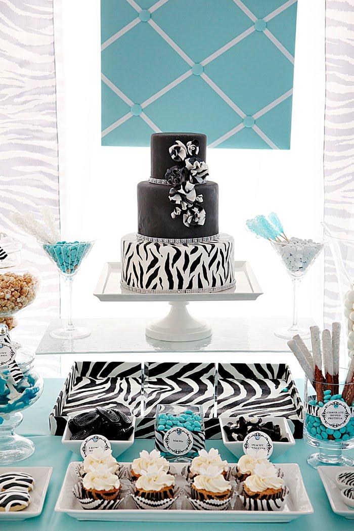 Tiffany Blue Gel Nails With Glitter: TIffany Blue & Zebra Print Dessert Table