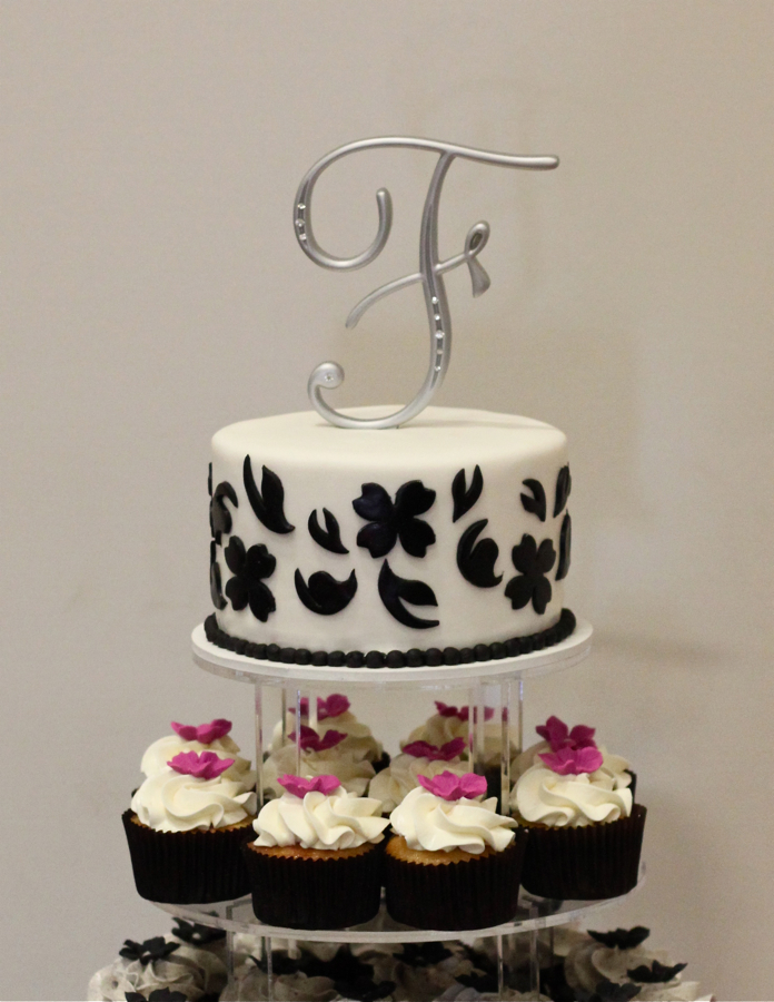 Damask Monogram Cake Topper